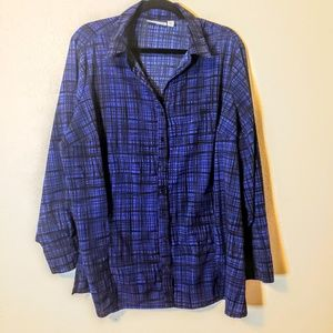 Croft & Barrow blue and black button down shirt 2x